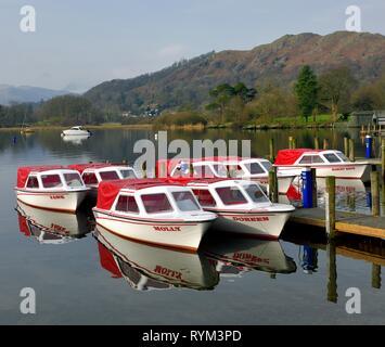 Pleasure boats with names,Ambleside,Lake Windermere,Lake District,Cumbria,England,UK - Stock Image