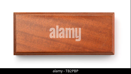 Top view of blank brown wooden box isolated on a white - Stock Image