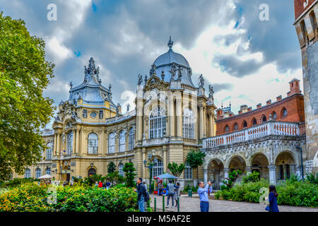 Vajdahunyad  Castle featuring historic reproductions of Hungarian architecture and history in the City Park in Budapest - Stock Image
