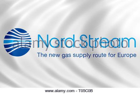 Nord Stream flag logo - Stock Image