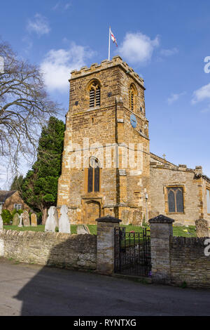 St Columba's church in the village of Collingtree, Northamptonshire, UK; earliest parts date from 12th century with a major 19th century restoration - Stock Image