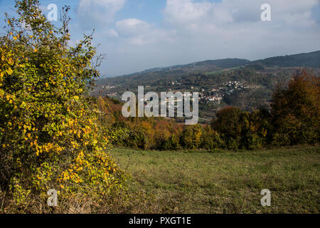 View over the hilly landscape of Piedmont from the small town of Monferrato - Stock Image