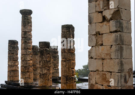 Delphi, Greece. In Greek mythology the site of the Delphic oracle. Temple of Apollo. - Stock Image