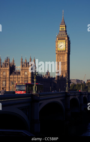Westminster Bridge, London Bus and Big Ben, London England - Stock Image
