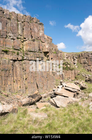 View within the disused Crowden Great Quarry or Loftend Quarry, Derbyshire, England, UK - Stock Image