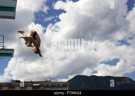 Bolzano, Italy. 07th, Jul 2018. Tuxen Hellen from Norway competes in the Women's 3m Springboard Diving Semi-Final on day two at Bolzano Lido, during 24th FINA Diving Grand Prix in Bolzano, Italy, 07 July 2018. (PHOTO) Alejandro Sala/Alamy Live News - Stock Image