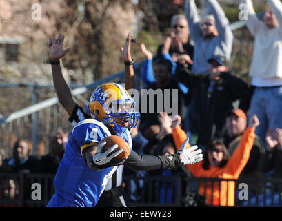 New Haven CT USA--UNH's Jason Thompson reacts after his first TD against Kutztown during the second quarter. - Stock Image
