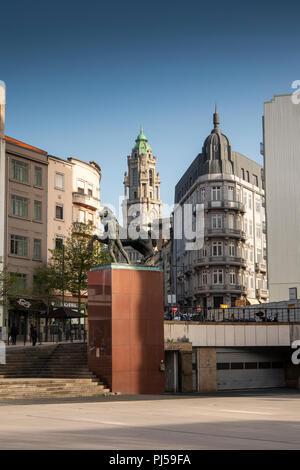 Portugal, Porto, Praça de Dom João 1, equestrian statue with tower of Town Hall Câmara Municipal do Porto - Stock Image