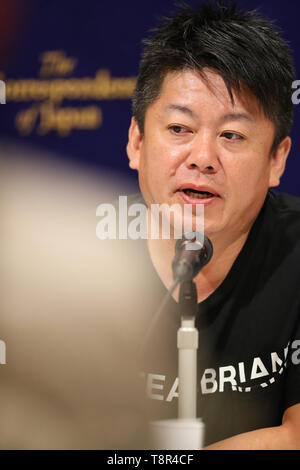 Takafumi Horie, founder of Interstellar Technologies Inc. attends during a press conference at the Foreign Correspondents' Club of Japan in Tokyo on May 15, 2019. A Japanese aerospace startup successfully launched a small unmanned rocket MOMO-3 earlier this month, making it the country's first privately developed model to reach the outer space. Credit: Yohei Osada/AFLO/Alamy Live News - Stock Image