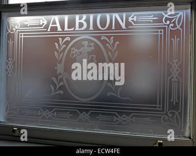 Albion engraved etched window pub, Chester, England, UK - Stock Image