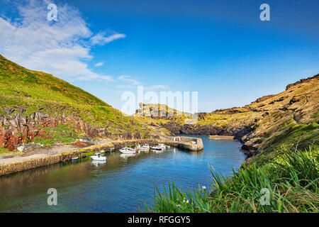 The harbour at Boscastle, a village on the Cornish coast, Cornwall UK - Stock Image