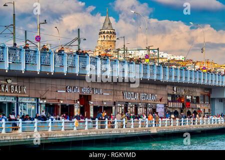 Galata Bridge, Istanbul, Turkey - Stock Image
