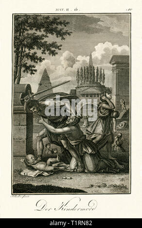 Middle East, Palestinian territories, West Bank, Bethlehem, ' The Massacre of the Innocents ', ordered by Herod the Great, copperplate engraving by Carl Schuler, around 1790, from an book of the 18th century. , Artist's Copyright has not to be cleared - Stock Image
