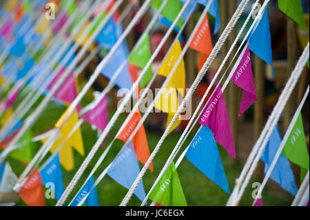 Bunting on Marquee at Hay Festival 2017 Hay-on-Wye Powys Wales UK - Stock Image