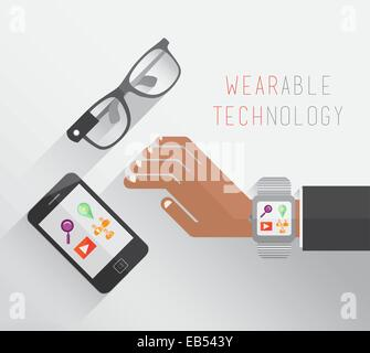 Wearable technology vector with glasses watch and smartphone - Stock Image
