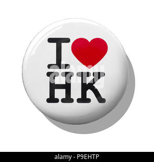 A white I love Hong Kong badge - Stock Image