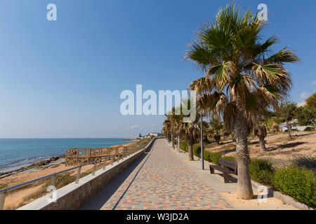 Mil Palmeras Costa Blanca Spain view from paseo promenade towards Playa Rocamar with palm trees - Stock Image