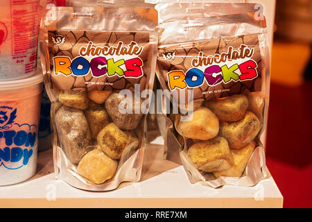 A bag of chocolate rocks for sale at It'sugar on Broadway in Greenwich Village, Manhattan, New York City. - Stock Image