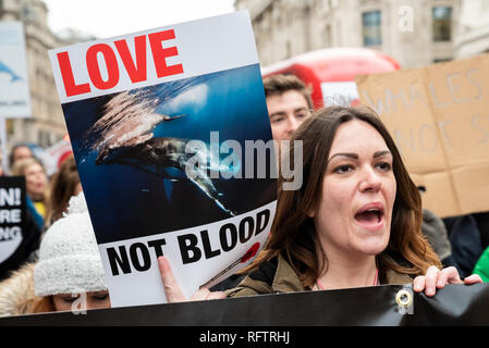 London, UK. 26th January 2019. London protest against the resumption of whaling by Japan.The Japanese government recently backed out of an international agreement banning commercial whaling. Campaigners marching through central london to the Japanese Embassy. Credit: Stephen Bell/Alamy Live News. - Stock Image