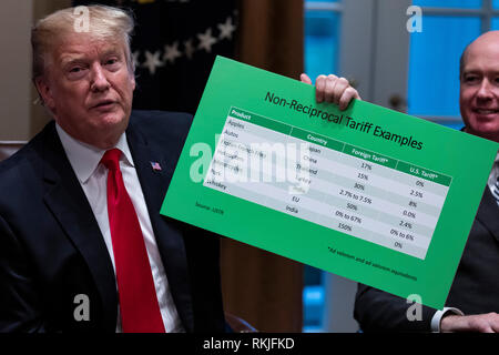 U.S. President Donald Trump displays a chart reporting examples of non-reciprocal tariffs' imposed by foreign countries on U.S. goods during a meeting with Republican lawmakers in the Cabinet Room of the White House in Washington, D.C. on January 24, 2019. - Stock Image