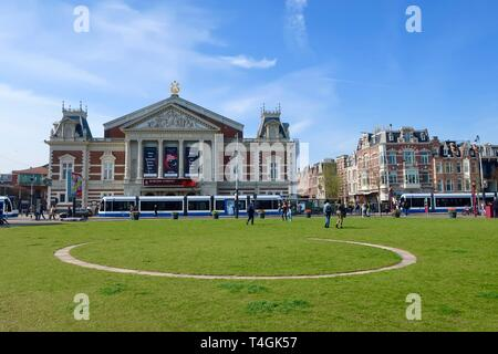 Amsterdam, Netherlands - April 2019; Museumplein and the Concert Hall on a bright spring day. - Stock Image