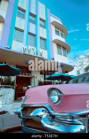 Miami Beach Florida Collins Avenue Marlin Hotel metallic motif interior pink Cadillac - Stock Image