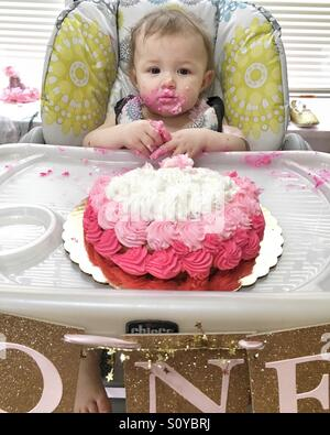 One year old birthday party - Stock Image