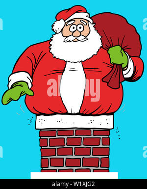santa claus chimney stuck humor roof illustration - Stock Image