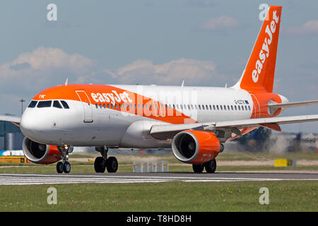 Easyjet Airbus A320-200, registration G-EZTK, preparing for take off at  Manchester Airport, England. - Stock Image