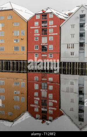 Wooden buildings sitting alongside the river channels that flow through the town of Trondheim in Norway. - Stock Image