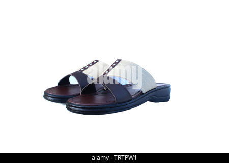 Leather sandals on isolated white - Stock Image