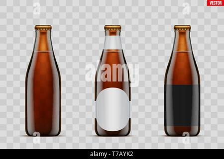 Mockup set of Craft beer bottle. Brown amber glass. Mock-up design for Individual and home brewery. Handcrafted beer. Vector Illustration isolated on  - Stock Image