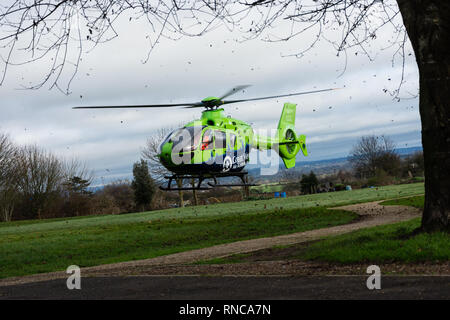 The great western air ambulance landing in a Bradford on Avon park - Stock Image