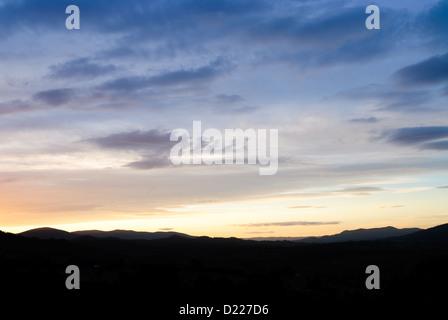 TOWAMBA, Australia - Pre-dawn sky over the mountain range at Towamba in outback New South Wales, Australia. - Stock Image