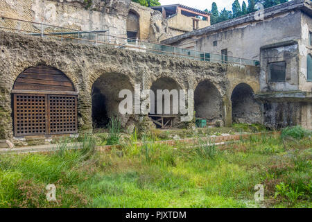 View Fron Entrance To Ancient Herculaneum Italy - Stock Image