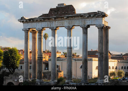 Temple of Saturn in Roman Forum, Rome, Italy - Stock Image