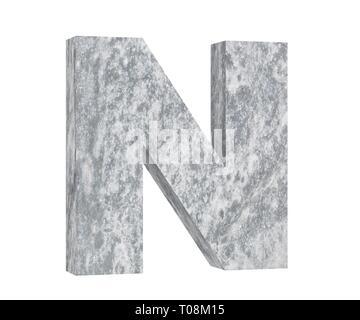 Concrete Capital Letter - N isolated on white background. 3D render Illustration - Stock Image