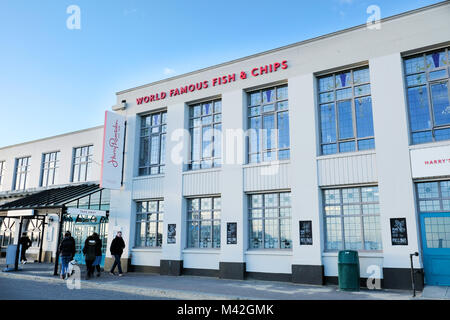 A Harry Ramsdens fish and chip restaurant and takeaway premises situated on the seafront at Bournemouth,UK the worlds - Stock Image