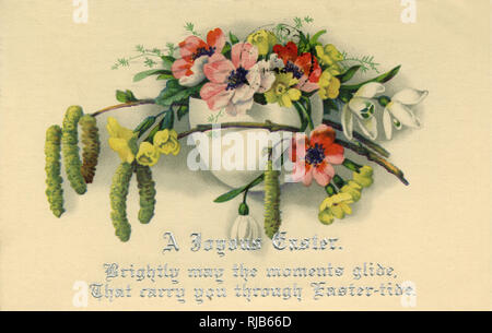 Easter postcard with a vase of flowers. - Stock Image