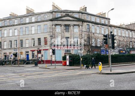 EDINBURGH, SCOTLAND - FEBRUARY 9, 2019 - Elm Row, part of Leith Walk, one of the longest streets in Edinburgh - Stock Image
