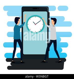 businessmen teamwork with smartphone technology and clock - Stock Image