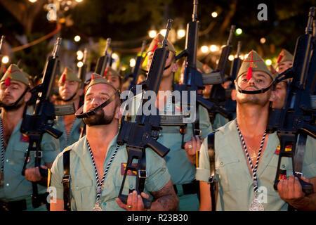 Malaga, Spain - April 2011: Spanish soldiers parading Semana Santa Fiesta, Easter, Malaga, Andalucia, Spain - Stock Image