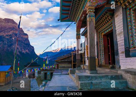 Tibetan Prayer Monastery Buddhists Village.Himalaya Mountains. Horizontal Photo. Nobody Image. Hikking Sport Activity. - Stock Image