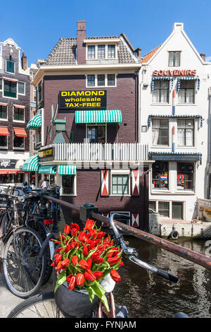Amsterdam diamont factory , Grimnesssluis, bicycles, tulips,  Amsterdam, Netherlands - Stock Image