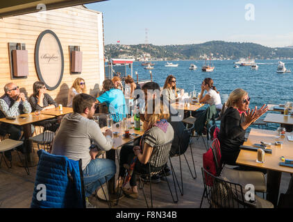 Baylan cafe, bar and restaurant in Bebek Istanbul Turkey - Stock Image