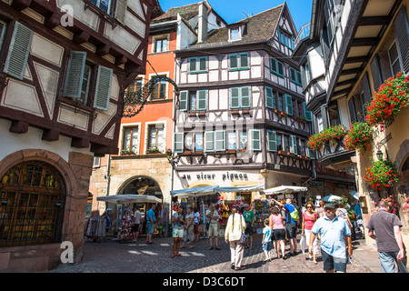 Crowded city center of Colmar, France - Stock Image