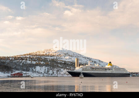 Saga Sapphire anchored in Alta harbor on it wintercruise to arctic part of Norway in 2019 - Stock Image