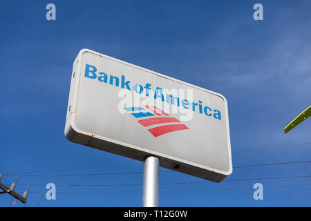 Bank of America, sign, against a blue sky - Stock Image
