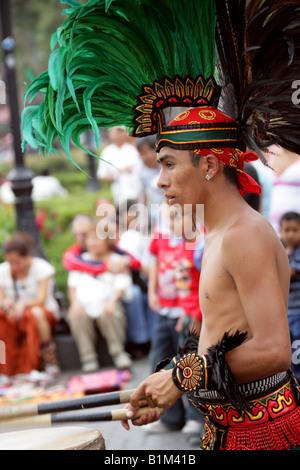 Mexican Drummer in Aztec Costume, Zocalo Square, Plaza de la Constitucion, Mexico City, Mexico - Stock Image