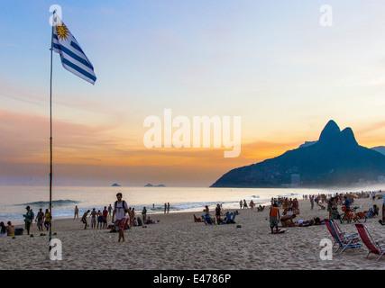 Ipanema; Rio de Janeiro; Brazil. Uruguayan flag at the 'Barraca do Uruguai', a beach stand belonging to - Stock Image